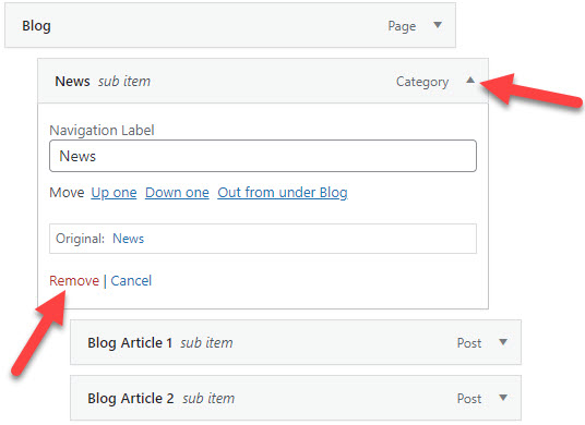 How to add menu in WordPress - Deleting Menu Items from the list