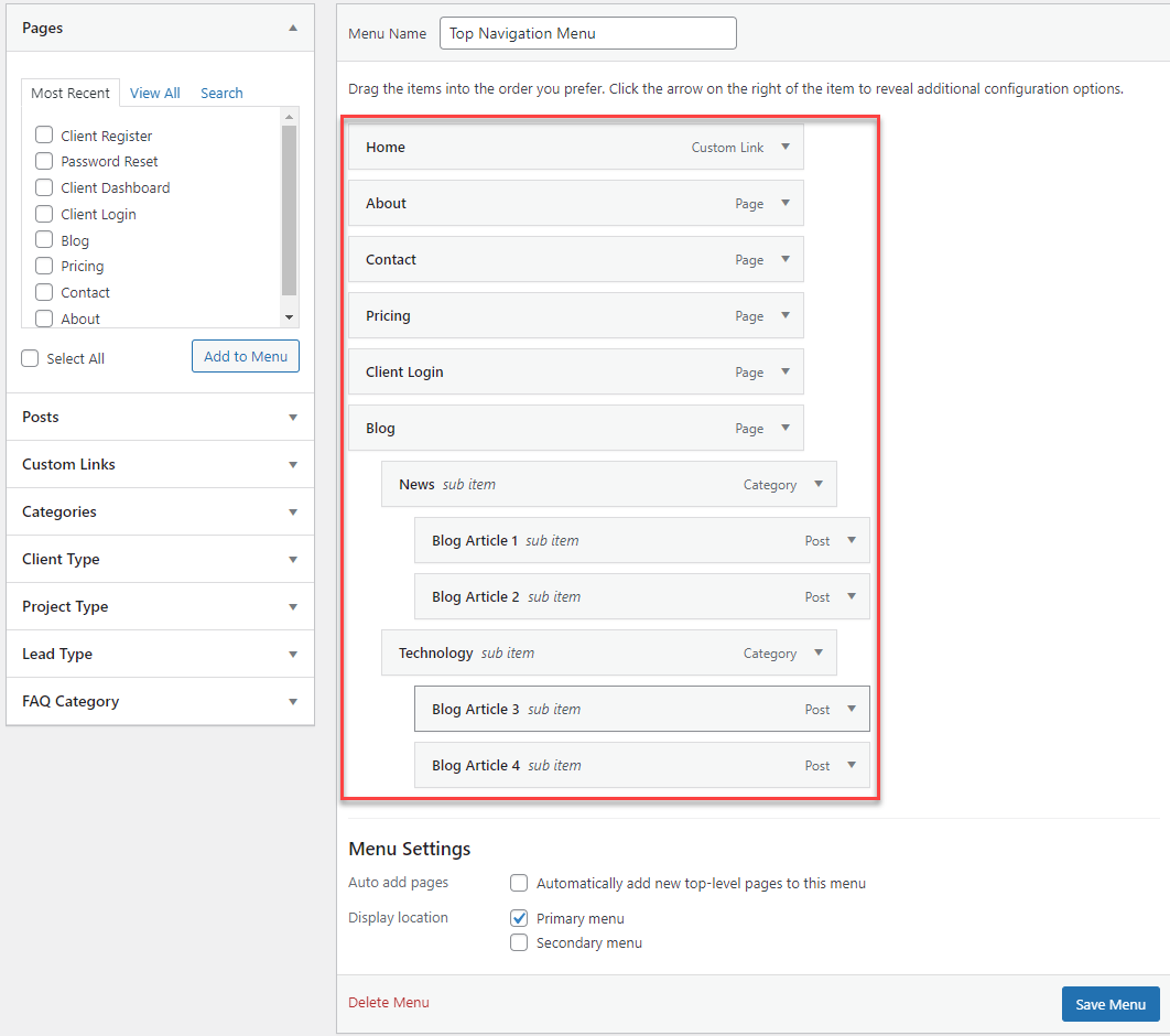 Create a Responsive Menu with Submenu - Arranging Menu and Menu Items